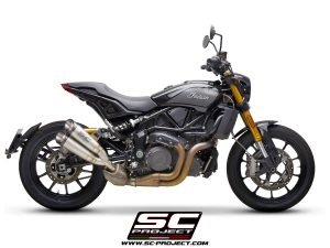 INDIAN MOTORCYCLEFTR 1200<br>Silenciador Twin S1, titanio, con tapa de fibra de carbono, para el catalizador original