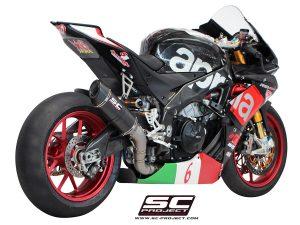 APRILIARSV4 (2015 – 2016) – RF – RR<br>Silenciador Oval Racing, fibra de carbono, con tapa de fibra de carbono